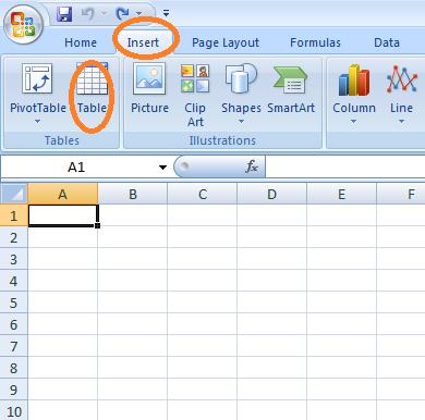 Cara Membuat Tabel di Microsoft Excel 2007