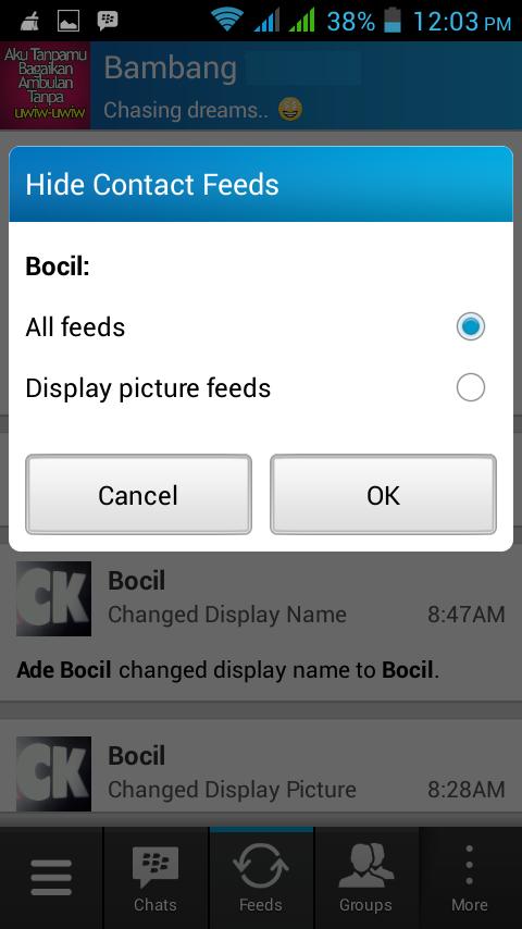 Cara Memblokir Feed Update Status Teman di BBM Android