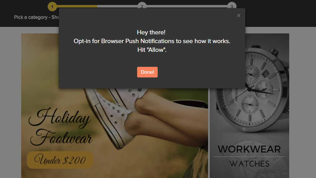 Contoh tampilan Browser Push Notification / DailySocial