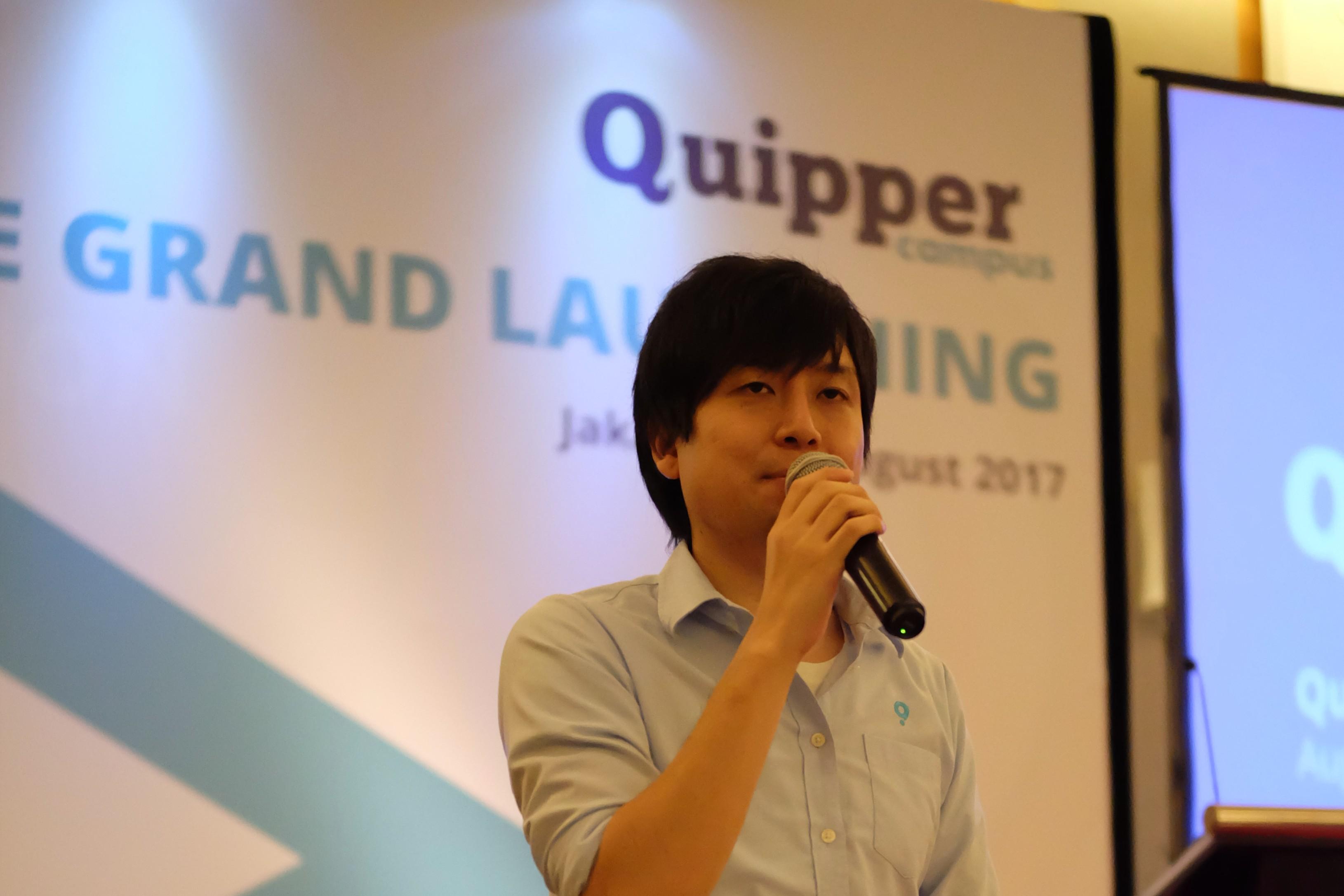 Takuya Homma selaku Country Manager Indonesia memberikan kata sambutan / Quipper