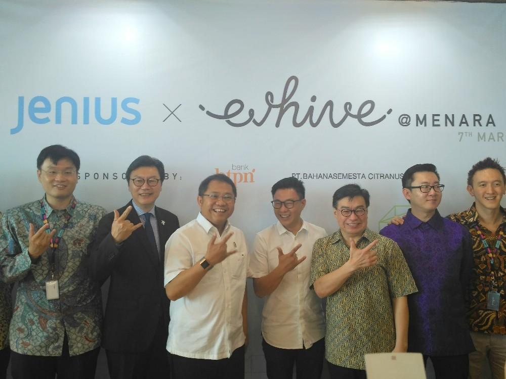 Menkominfo Rudiantara, Carlson Lau (EV Hive), Jerry Ng (BTPN), dan Willson Cuaca (East Ventures) saat acara peresmian coworking space Jenius x EV Hive / DailySocial
