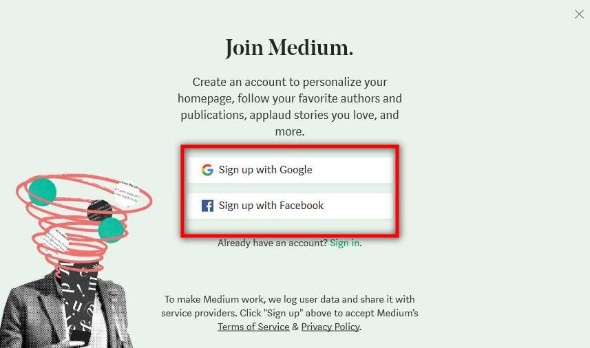 cara membuat blog medium_sign up_2