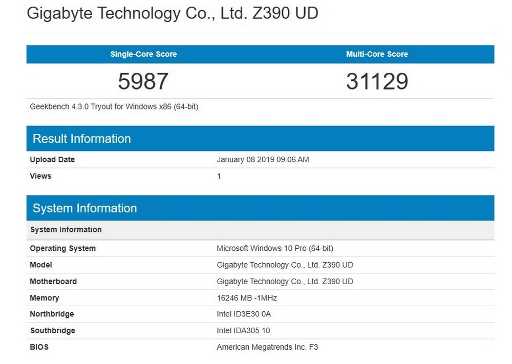 Intel i9 9900K - GeekBench 4