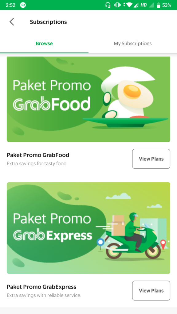 Grab subscription feature