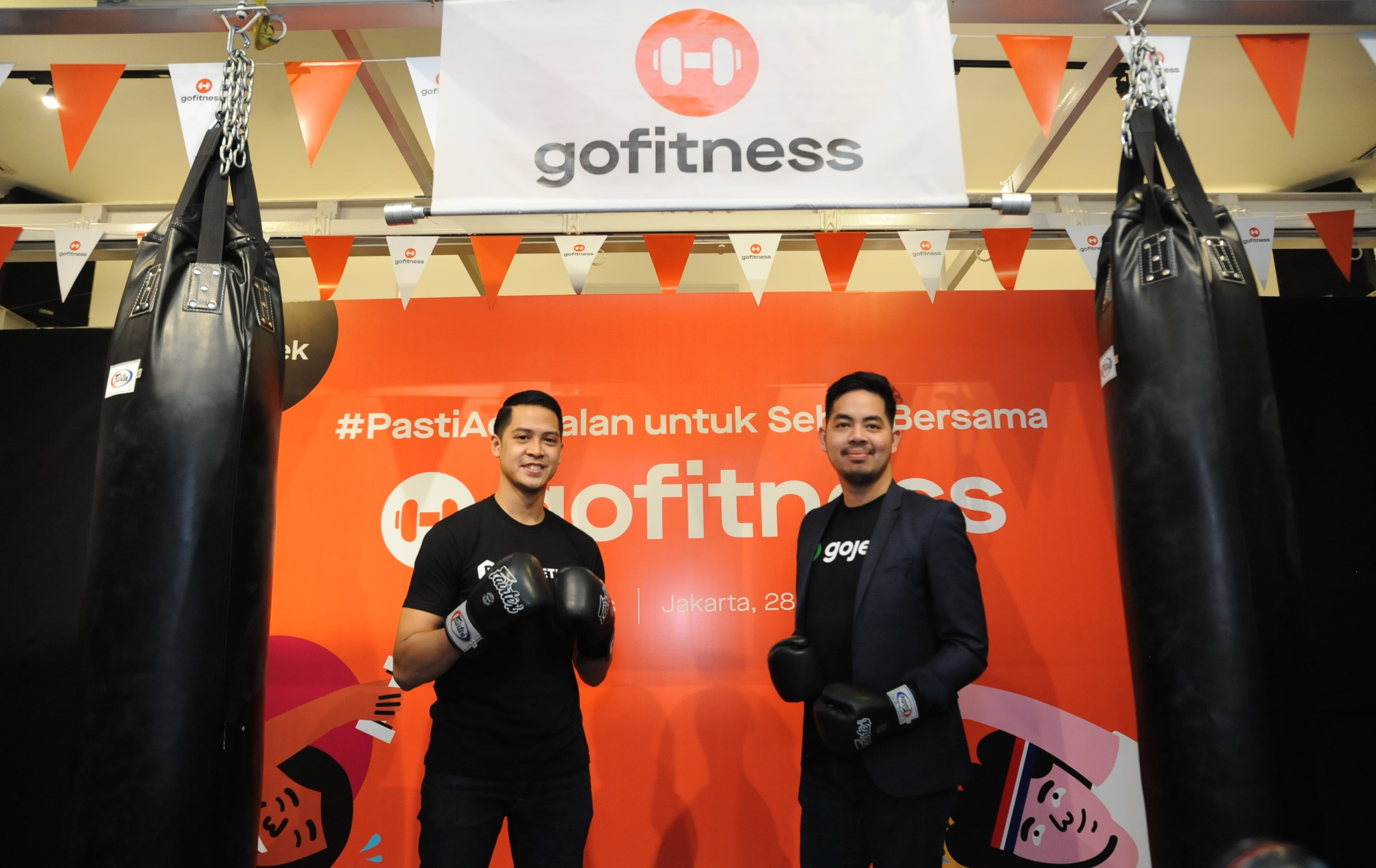 CEO Doogether Fauzan Gani dan Head of Third Party Platform Gojek Group Sony Radhityo saat peluncuran GoFitness / Gojek
