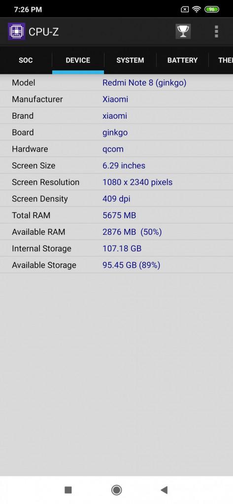 Xiaomi Redmi Note 8 - CPUZ System