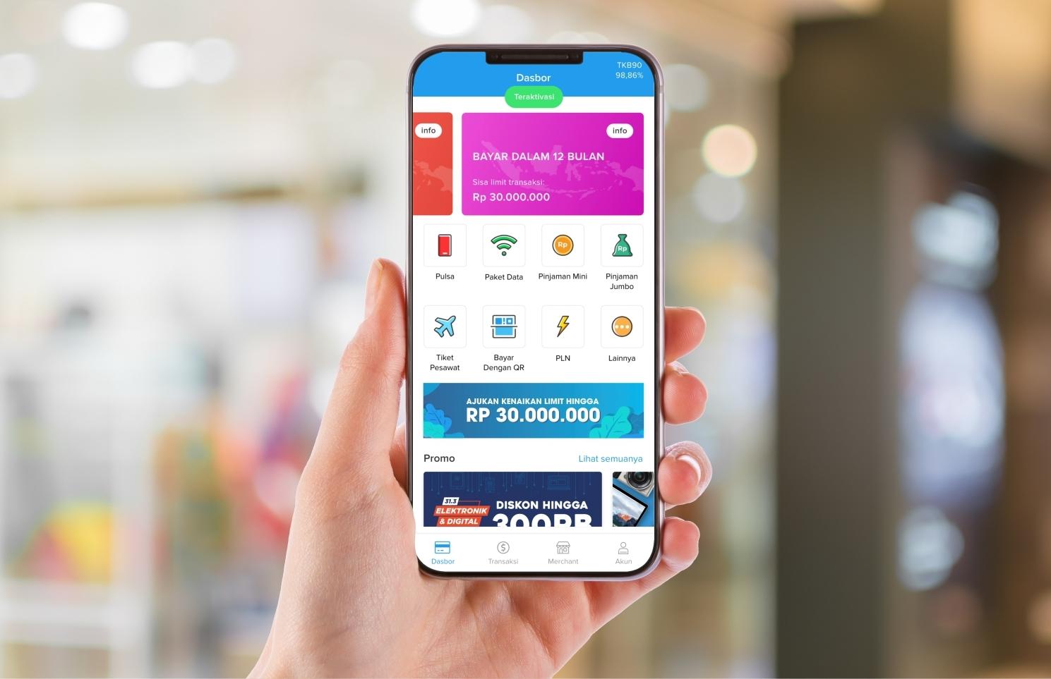 Kredivo application display on Android
