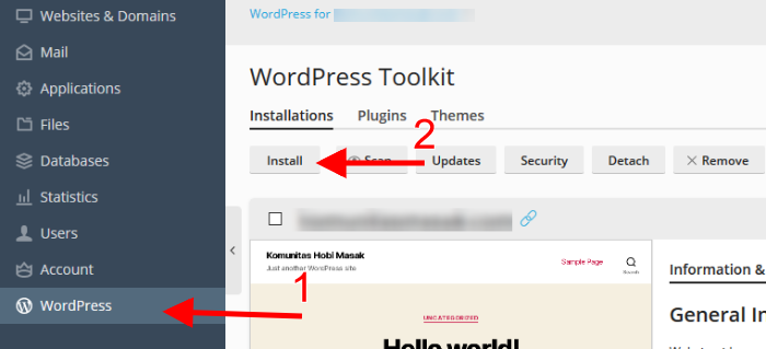 cara instal wordpress di plesk panel