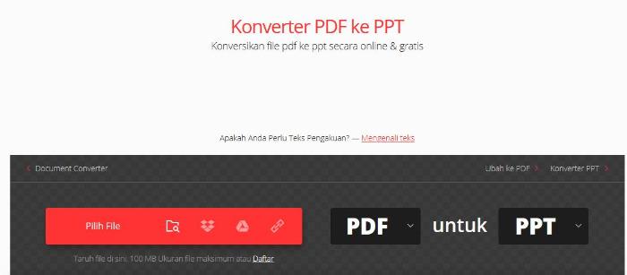 Mengubah Dokumen PDF ke PPT online