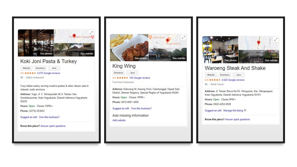 Example of culinary business information displayed on Google search engine