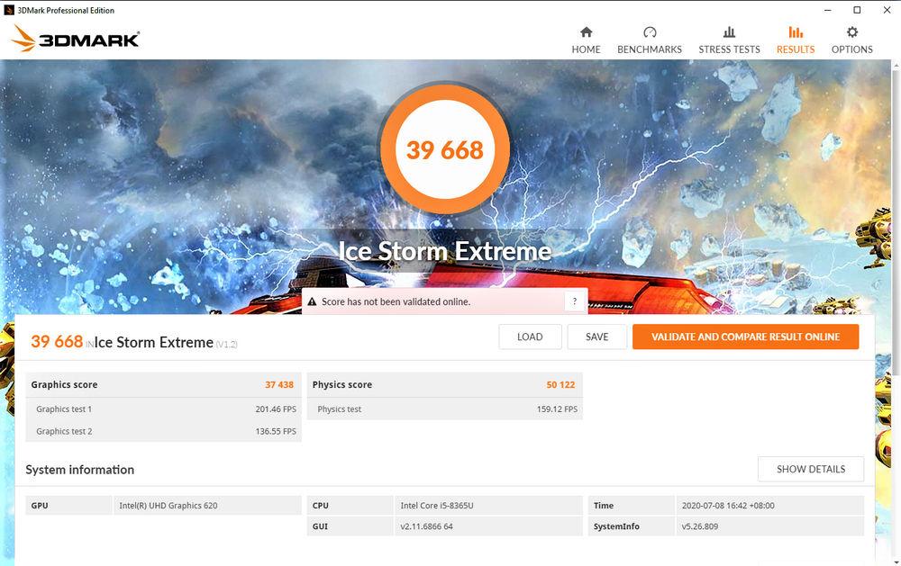 Dell OptiPlex 7070 Ultra - Benchmark ICe Storm Extreme